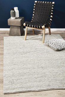 Studio 327 Wool And Viscose White Loop Rug