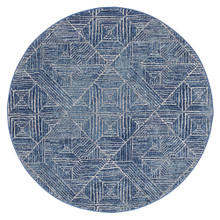 Avoca 457 Navy Wash 200cm Round Rug