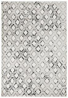 Kansas 607 Off White Black Modern Decor Rug
