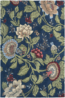 Wedgwood Passion Flower Navy Luxury Rug