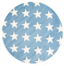 Piccolo 927 Blue Star 133cm Round Rug