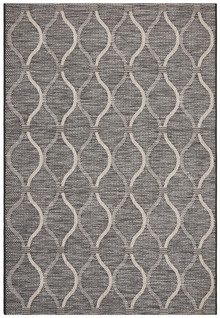 Terrace Lattice Design Black Floor Rug