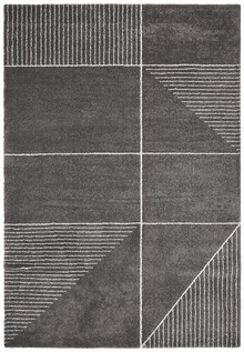 Brooklyn Plush Charcoal Geometric Rug