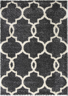Avis Lattice Charcoal Shaggy Rug
