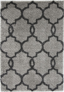 Avis Grey Lattice Shaggy Rug