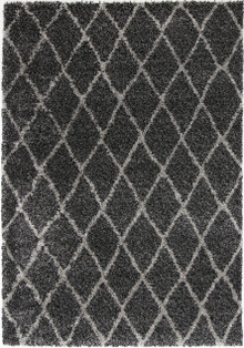 Avis Charcoal Hex Shaggy Rug