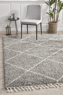 Shaba Diamond Grey Shag Rug