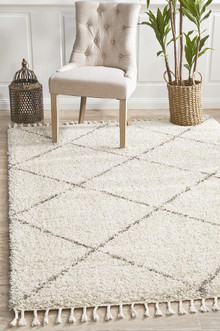 Shaba Diamond Natural Shag Rug