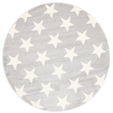 Piccolo Light Grey Star 133cm Round Rug