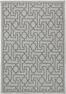 Polar Hex Grey Outdoor Rug