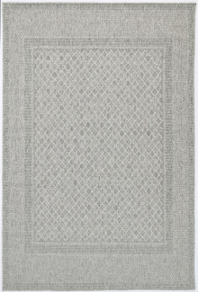Polar Grey Border Outdoor Rug