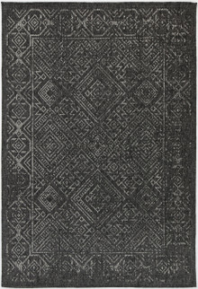 Polar Diamond Black Outdoor Rug