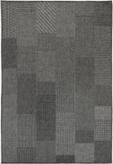 Polar Black Block Outdoor Rug
