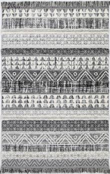Ava Aztec Grey Shag Rug