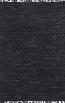 Delta Black Leather Rug