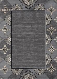 Abi Grey Pattern Border Rug
