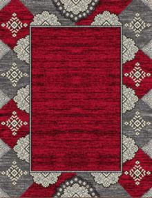 Abi Red Pattern Border Rug