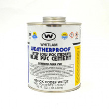 Whitlam All Weather Low VOC Blue Medium Bodied PVC Cement - 1 Quart