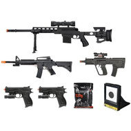 7 Piece Spring Airsoft Sniper Rifle Gun Bundle