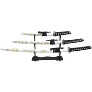 3 Piece Japanase Samurai Katana Sword Set With White & Gold Dragons