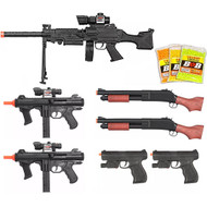 10 Piece Spring Airsoft Rifle Gun Set Bundle