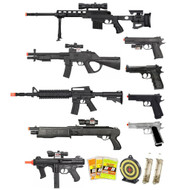 15 Piece Spring Airsoft Rifle Gun Bundle
