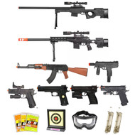 15 Piece Spring Airsoft Sniper Rifle Gun Bundle
