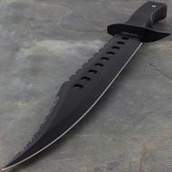 """Survivor 17"""" Black Tactical Sawback Survival Knife"""