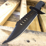 "Survivor 17"" Black Tactical Sawback Survival Knife"