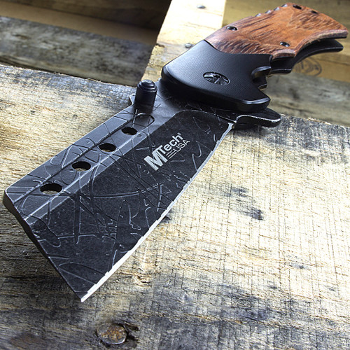 """Mtech Cleaver: MTech USA 8.25"""" Cleaver Style Wood Handle Spring Assisted"""