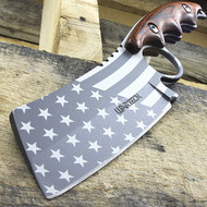 "WarTech 8.25"" Proud American USA Flag Cleaver Style Knife Gray"