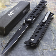 "MTech USA 8.5"" Black Stainless Steel Stiletto Folding Knife"