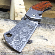 "Buckshot 8"" Damascus Style Spring Assisted Folding Pocket Knife"