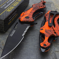 "Tac Force TF-705RC 8"" Red Camo Gentleman's Spring Assisted Folding Knife"