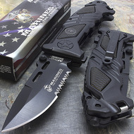 "MTech M-A1023BK USMC Marine Corps ""Iron Mike"" Licensed Spring Assisted Knife Black"