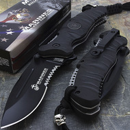 "MTech M-A1020BK USMC Marine Corps ""Reaper"" Licensed Spring Assisted Knife Black"