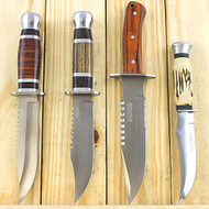 4 Piece Fixed Blade Hunting Knife Set With Wood Handle