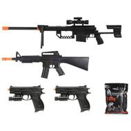 5 Piece Spring Airsoft Sniper Rifle Gun Bundle