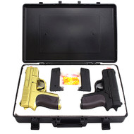 Cyma Dual Spring Airsoft Pistols With Gun Carrying Case Gold Black