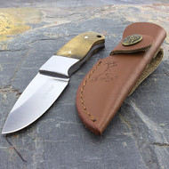 "Elk Ridge 5"" Burl Wood Fixed Blade Knife With Leather Sheath"