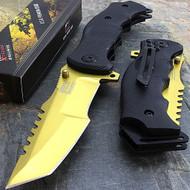 "MTech USA MX-A805GD 9"" Gold Tanto Spring Assisted Folding Knife"