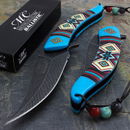 """Masters Collection MC-A023BL 8.5"""" Damascus Style Spring Assisted Folding Knife Blue"""