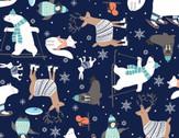 Snow Happy - Four Way Multi Animals Dark Blue from Studio E Fabrics