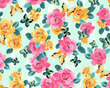 A Beautiful Day - Rose Butterfly Light Teal from Clothworks Fabrics
