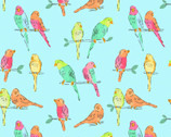 A Beautiful Day - Birds Blue from Clothworks Fabrics