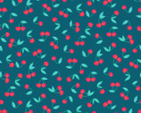 A Beautiful Day - Cherries Blue from Clothworks Fabrics