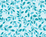 Pearl Reflections - Pearlescent Leaves Teal Tonal by KANVAS from Benartex Fabric