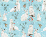 Winter Woodland - Animals Light Teal Blue by Diane Neukirch from Clothworks Fabrics