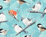Winter Woodland - Birds Light Teal Blue by Diane Neukirch from Clothworks Fabrics