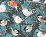 Winter Woodland - Birds Dark Blue by Diane Neukirch from Clothworks Fabrics